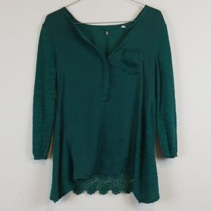 Knitted & Knotted Anthropologie green crochet top